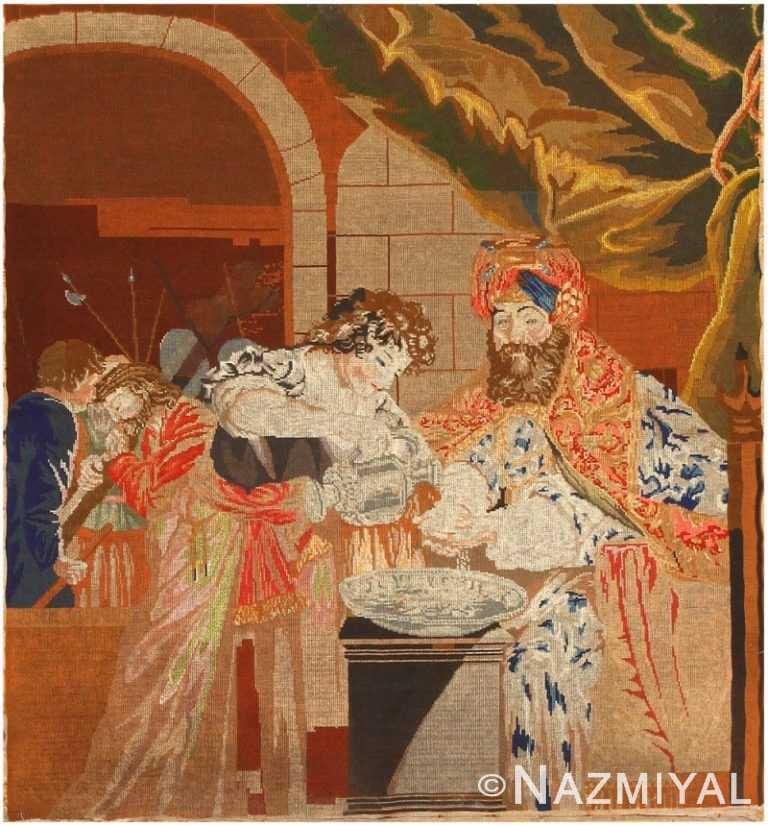 Antique Needlepoint English Rug 43256 Nazmiyal