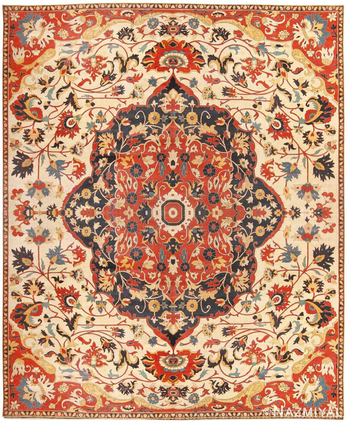 Oversized Antique Persian Sarouk Farahan Carpet 46926 Nazmiyal