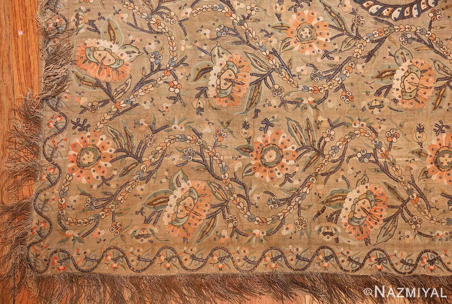 antique silk persian textile 8386 corner Nazmiyal