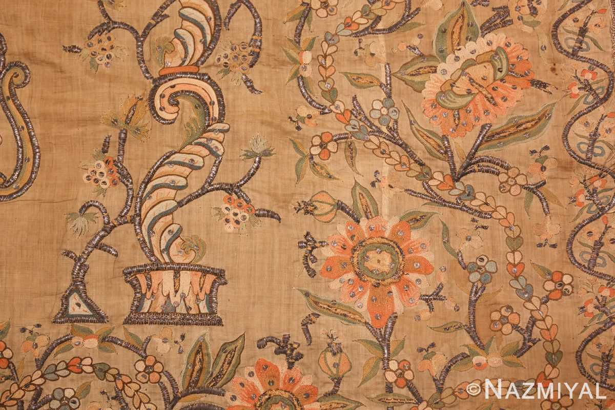 antique silk persian textile 8386 detailed Nazmiyal