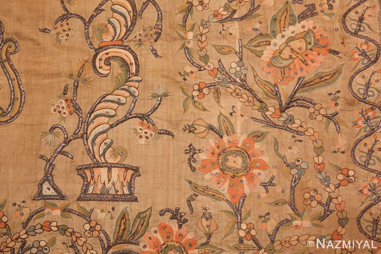 antique silk persian textile 8386 detailed Nazmiyal