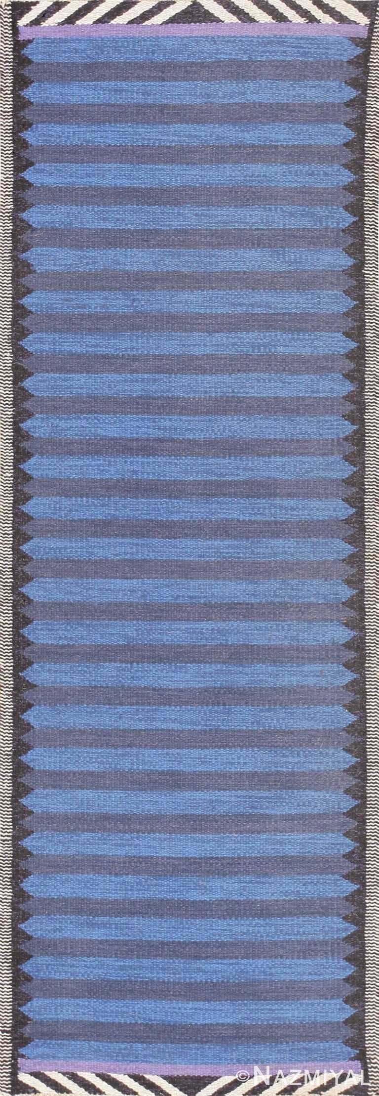 Beautiful Blue Vintage Scandinavian Swedish Runner 47693 Nazmiyal