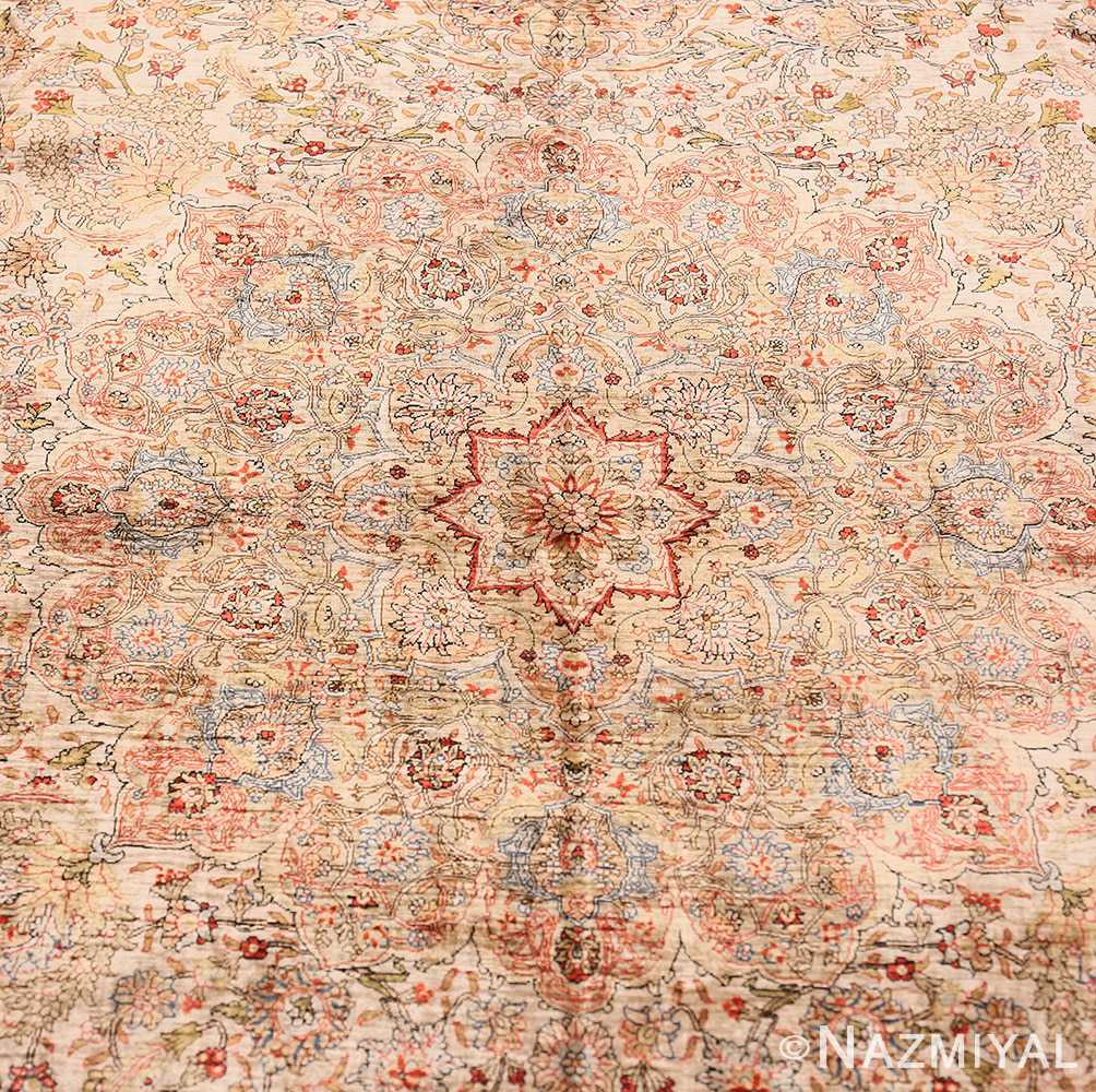 Close-up Vintage Silk Turkish Hereke rug 48038 by Nazmiyal