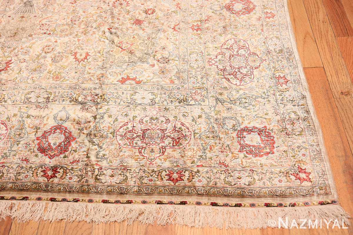 Corner Vintage Silk Turkish Hereke rug 48038 by Nazmiyal