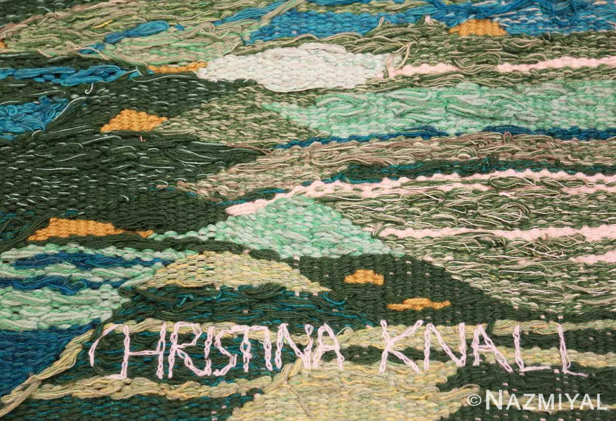 Signature Scandinavian tapestry rug 48190 designed by Christina Knall from the Nazmiyal Antique rugs collection,