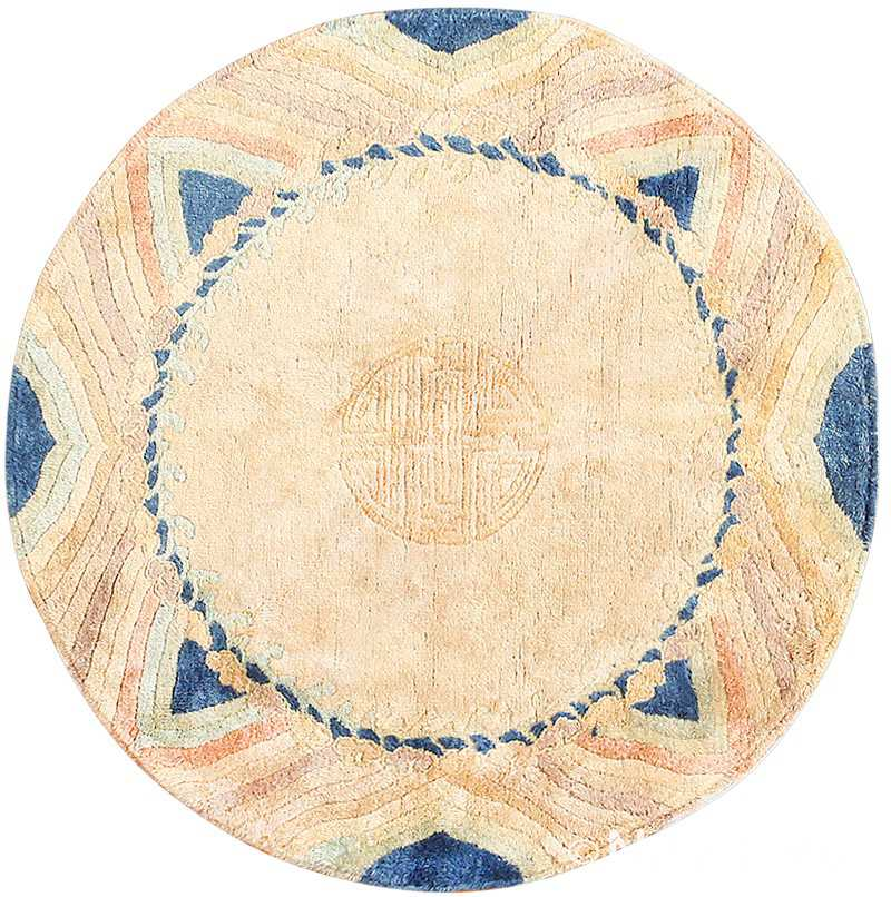 Vintage Chinese Art Deco Circular Rug 48051 Detail/Large View