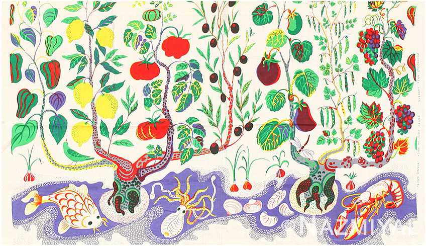 Vintage Italian Dinner Textile by Josef Frank by Nazmiyal NY