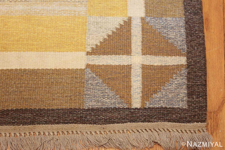 vintage mid century scandinavian swedish kilim rug 48117 corner Nazmiyal
