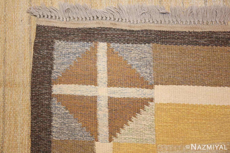 vintage mid century scandinavian swedish kilim rug 48117 knots Nazmiyal