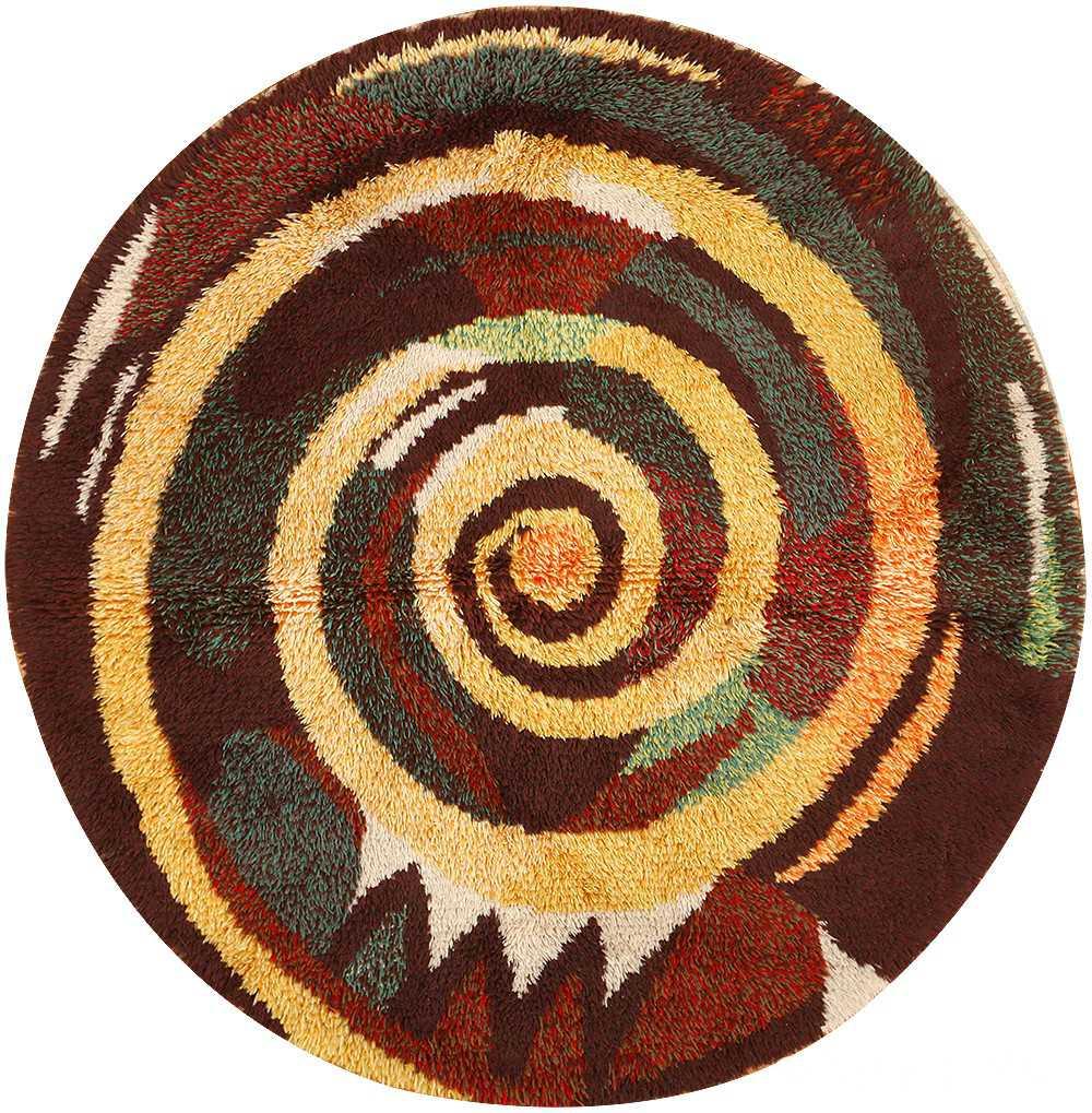 Vintage Round Swedish Rya Rug 48193 Nazmiyal