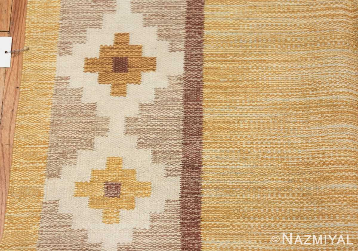 Vintage Swedish Kilim 48202 Border Geometric Nazmiyal