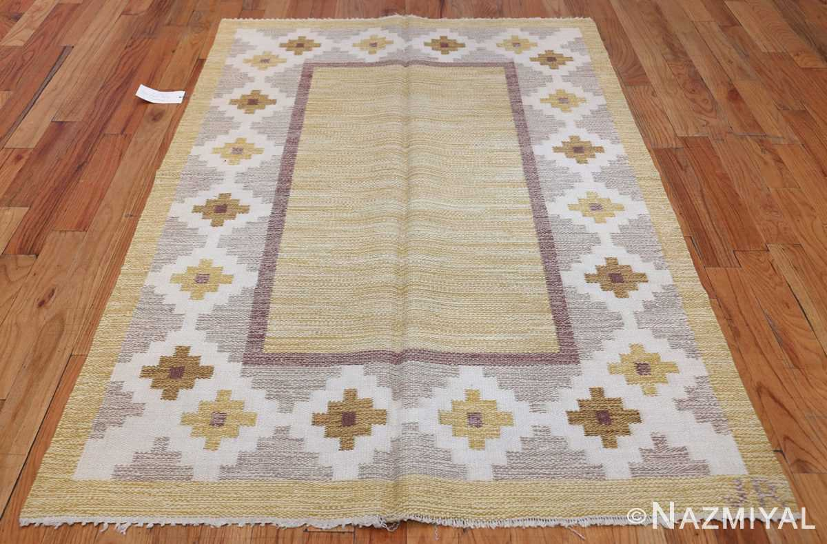 Vintage Swedish Kilim 48202 Whole Design Nazmiyal