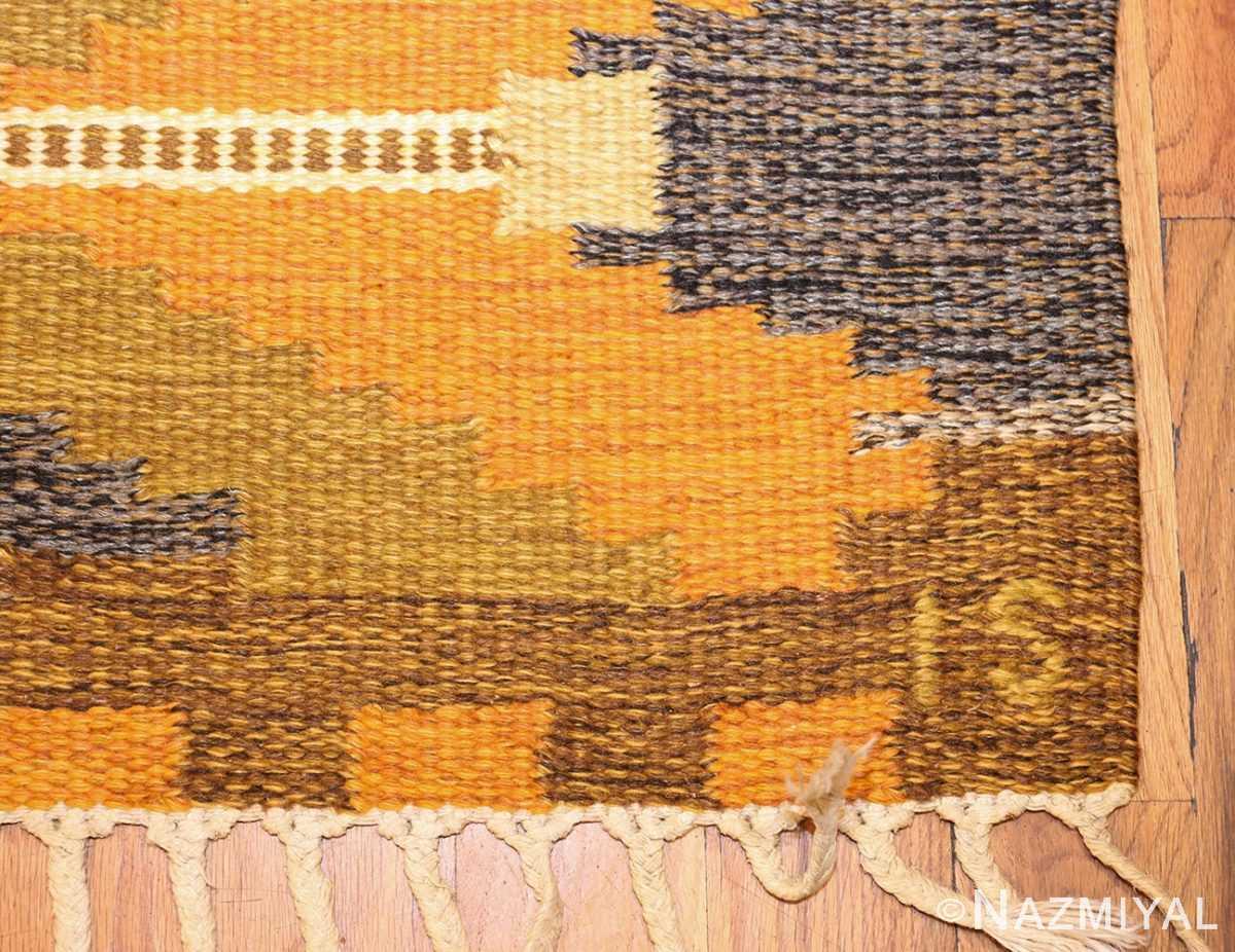 vintage swedish kilim by ingegerd silow 48198 signature Nazmiyal
