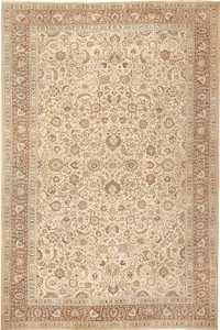 Cream Brown Antique Oversized Persian Khorassan Rug 41975 Namziyal