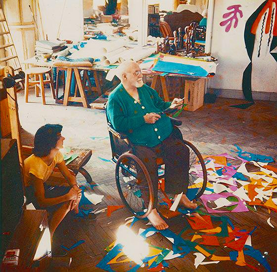 Artist Henri Matisse Working In His Studio On A Cut Out Composition by Nazmiyal
