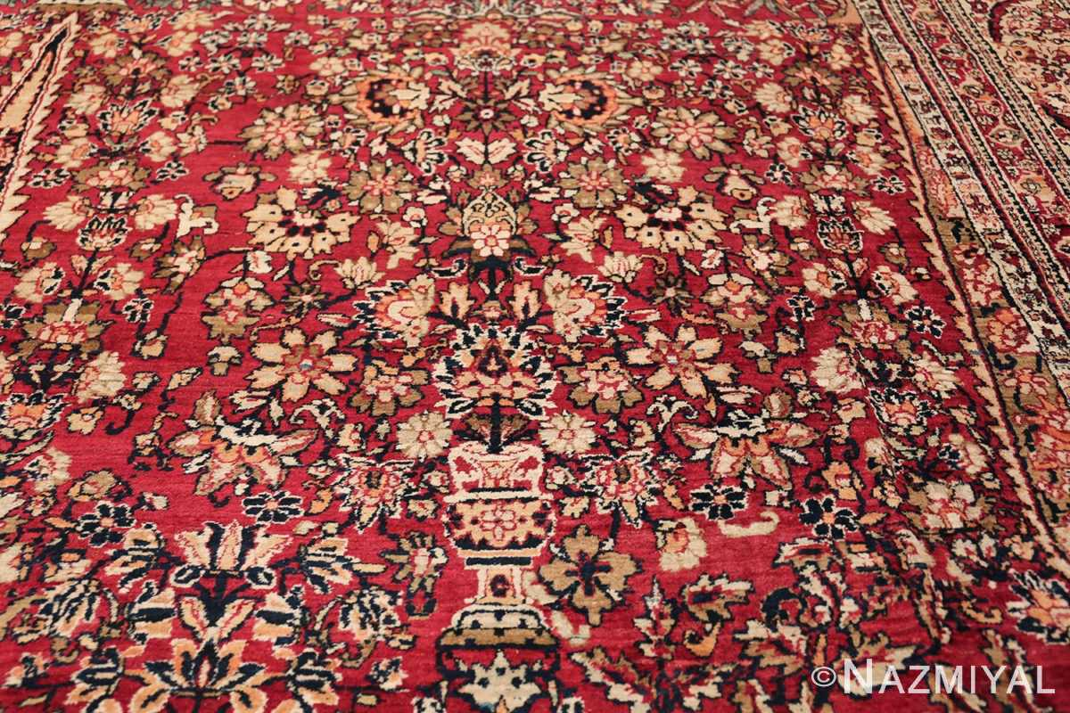 Antique Oversized Persian Kerman Carpet 48210 Golden Glass Vase Nazmiyal