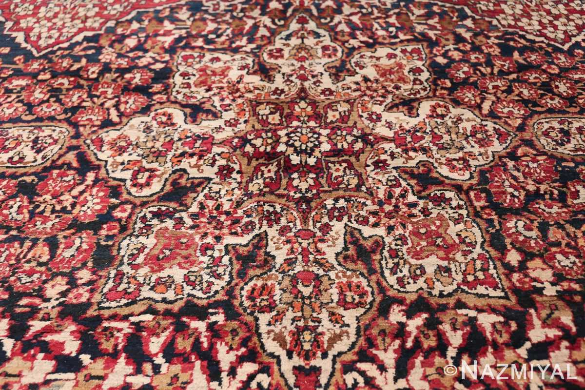 Antique Oversized Persian Kerman Carpet 48210 Ivory Medallion Nazmiyal