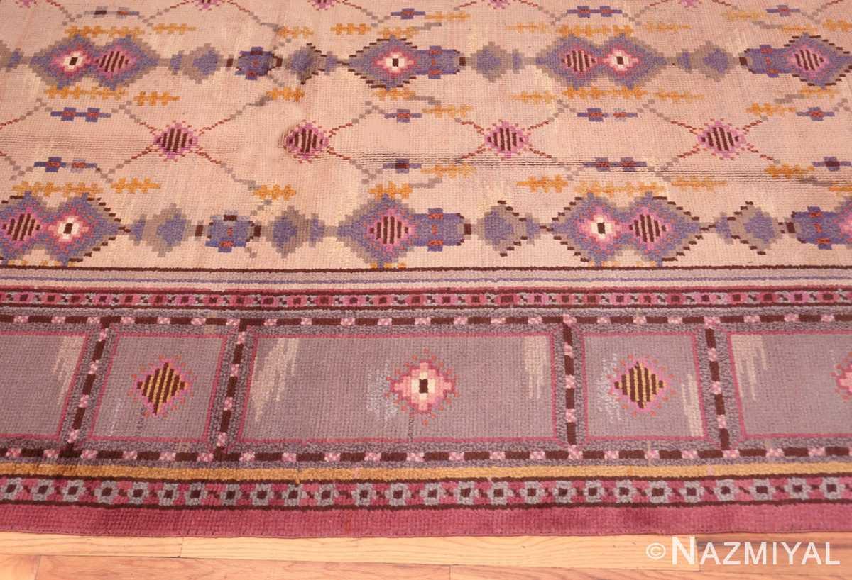 border Vintage room size pile Scandinavian rug 48123 by Nazmiyal
