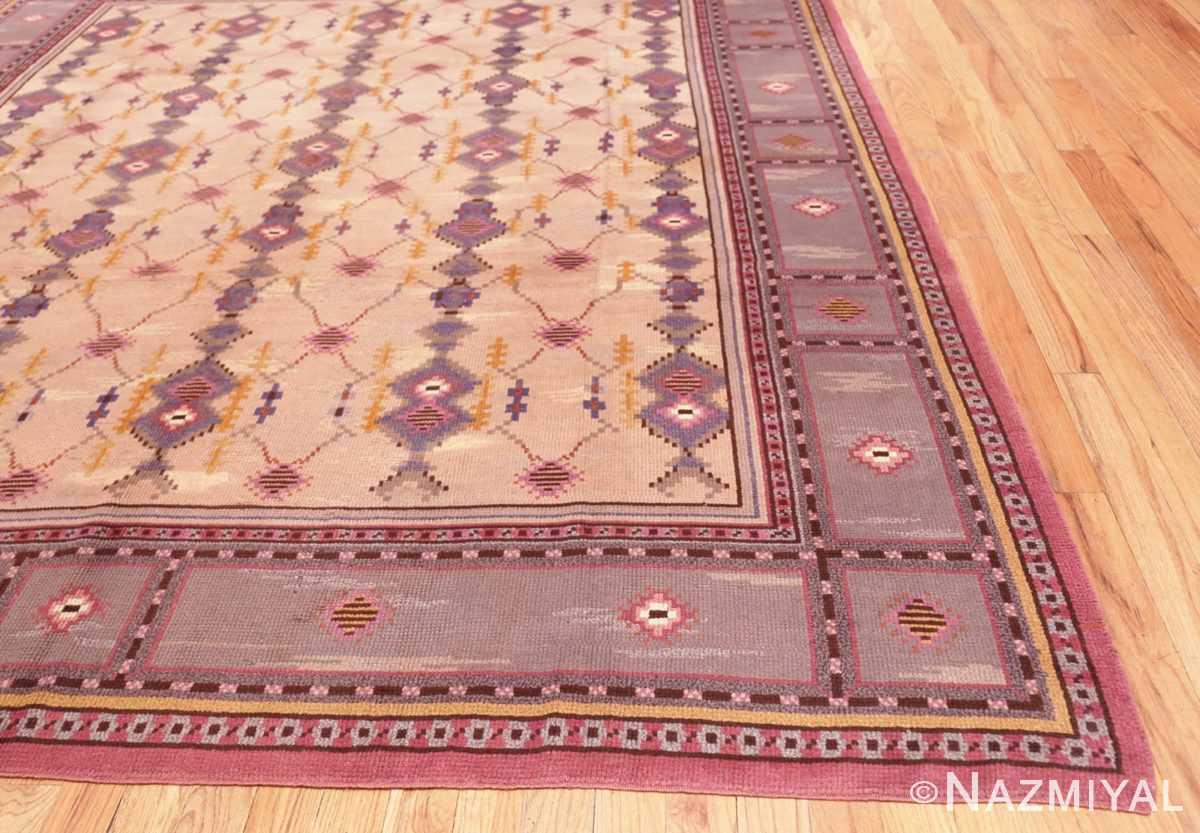 corner Vintage room size pile Scandinavian rug 48123 by Nazmiyal