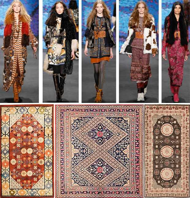 Fashion Week Anna Sui Collection Paired with Antique Khotan Rugs from East Turkestan