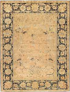 Antique Silk and Wool Agra Indian Rug 3450 Nazmiyal