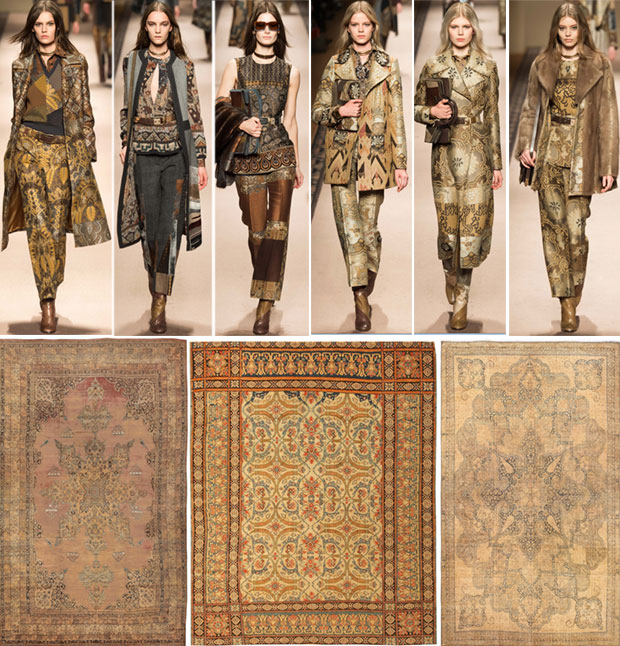 Fashion Week Etro Collection and Antique Persian Rugs