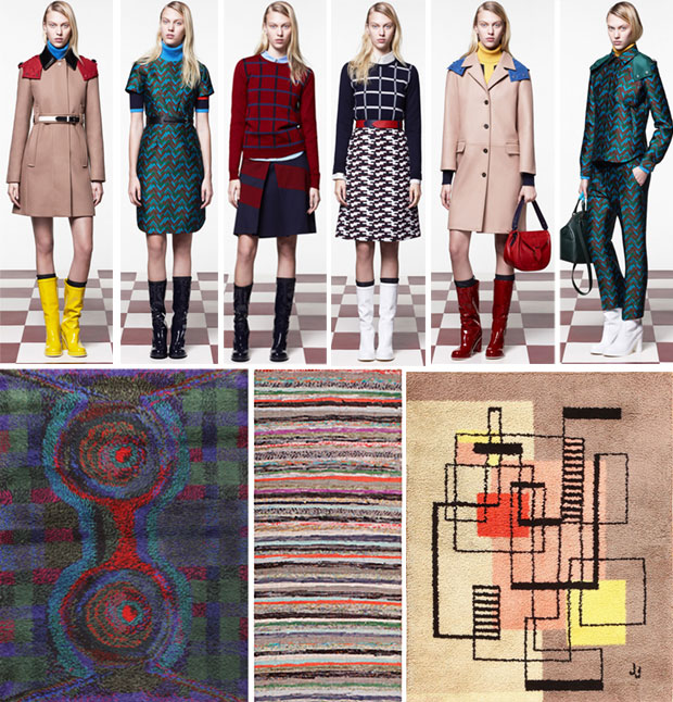 Fashion Week Jil Sander Collection Paired with Vintage Scandinavian Rugs