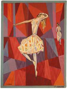 """Vintage Scandinavian """"The Dance"""" Tapestry by Lars Gynning for P.F Aubusson - Nazmiyal"""