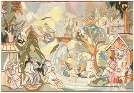 Vintage Swedish Tapestry 48283 Detail/Large View