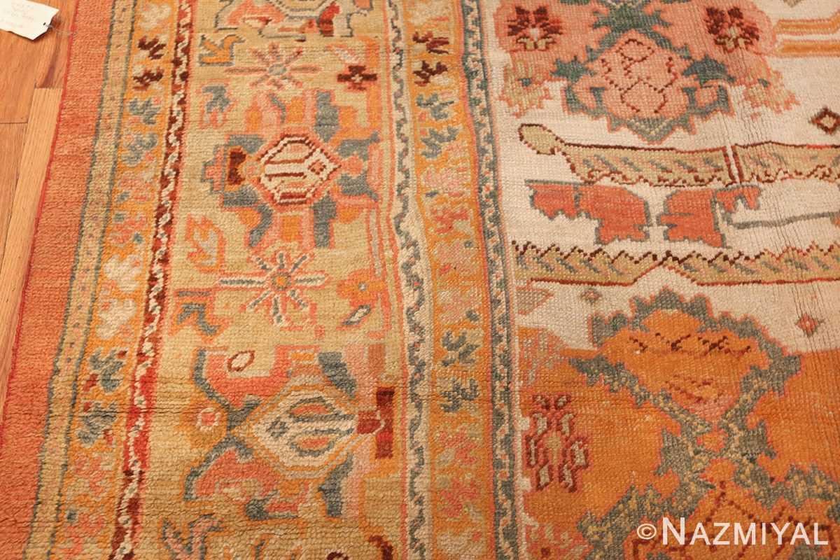 antique room size oushak turkish rug 48157 border Nazmiyal
