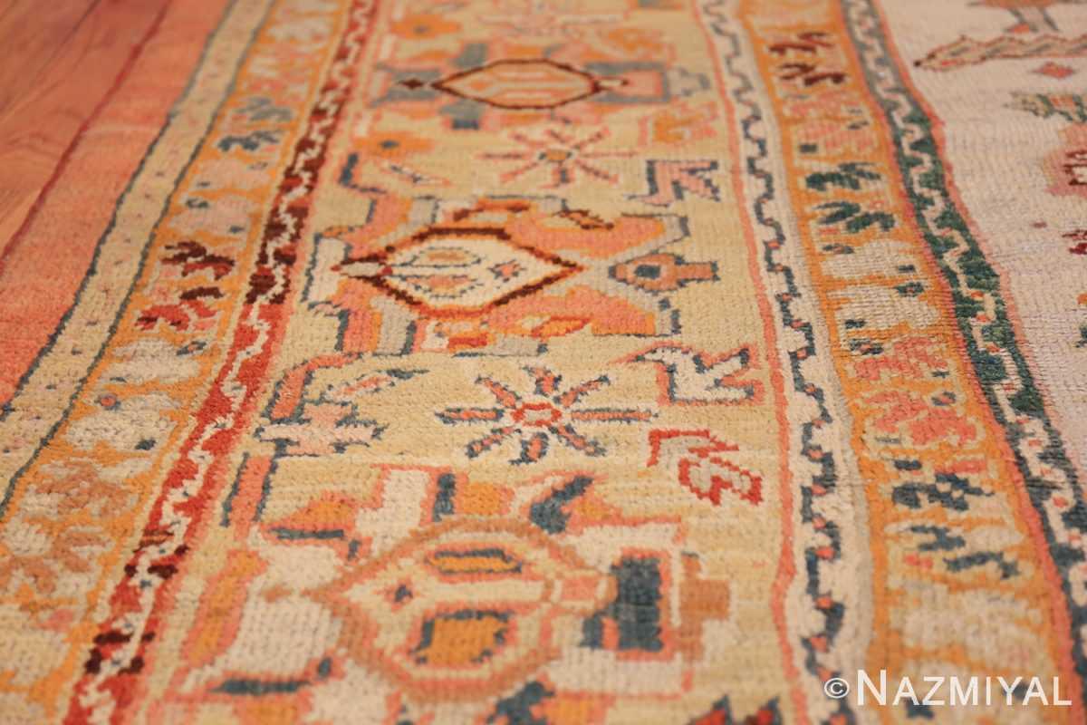 antique room size oushak turkish rug 48157 lines Nazmiyal