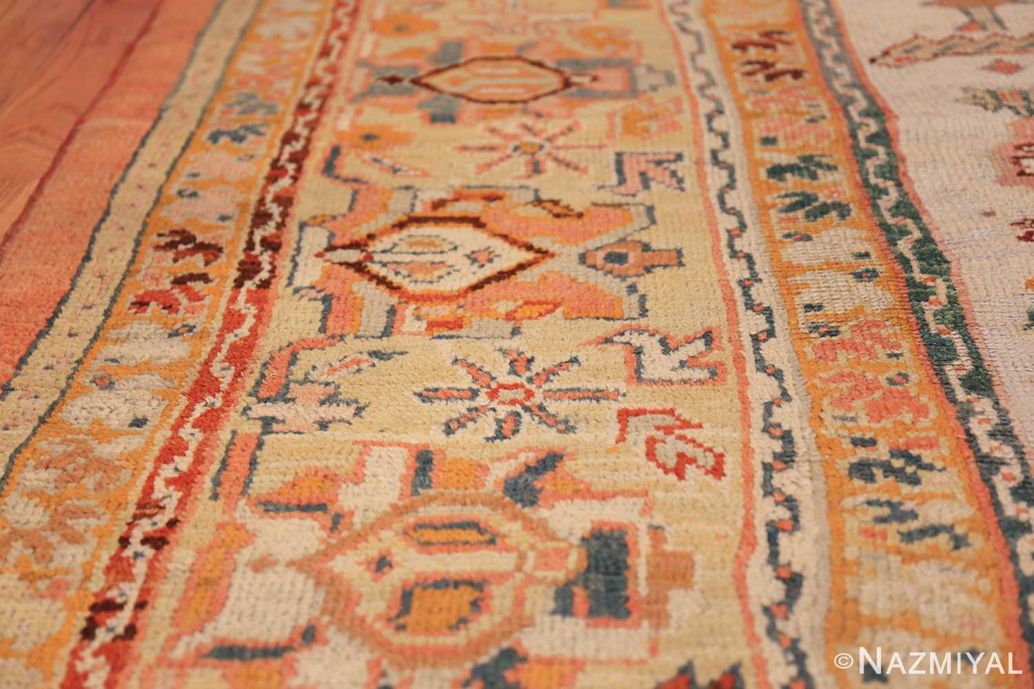 antique room size oushak turkish rug 48157 lines Nazmiyal
