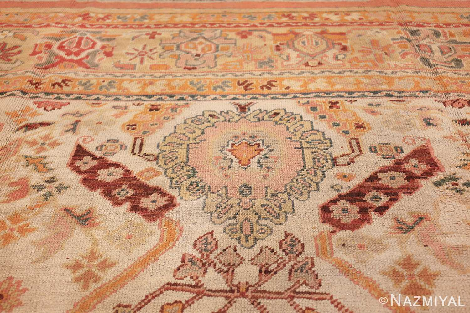 antique room size oushak turkish rug 48157 pink Nazmiyal