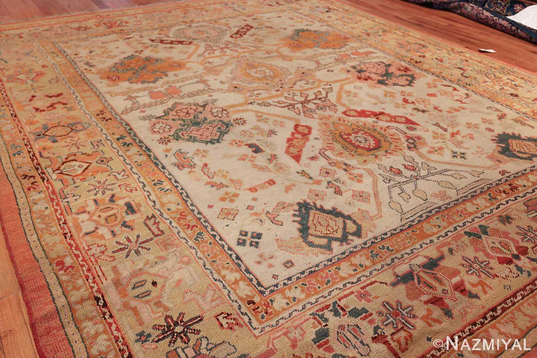 antique room size oushak turkish rug 48157 side Nazmiyal