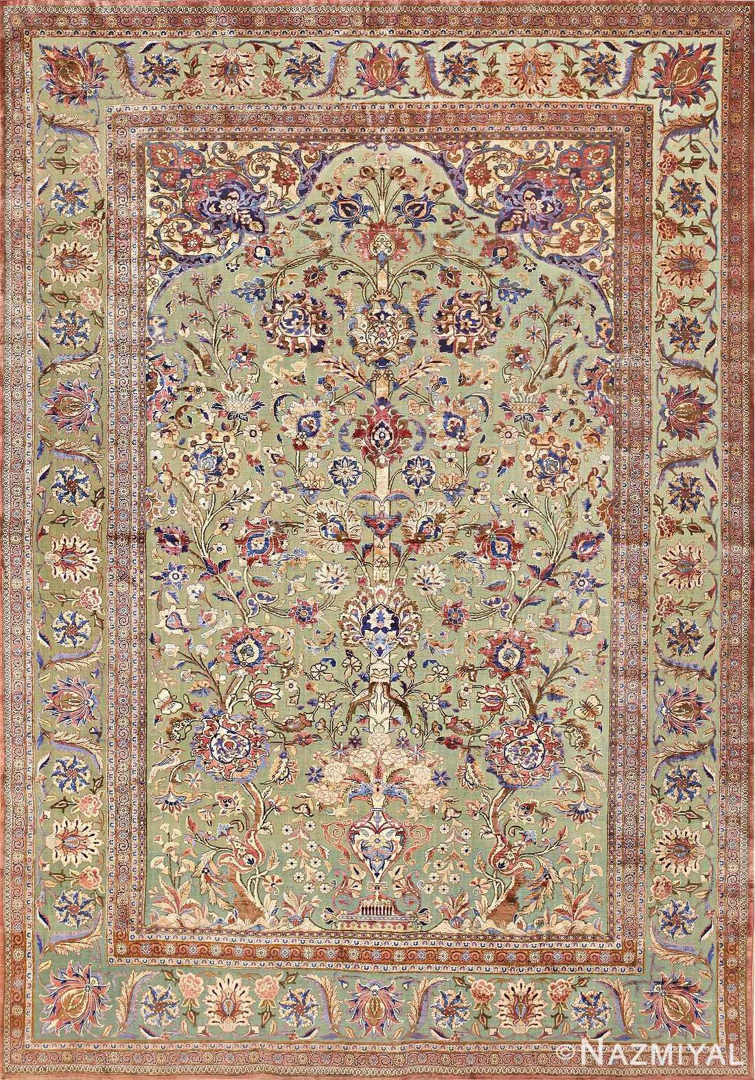 Antique Silk Persian Kashan Carpet 48250 Nazmiyal