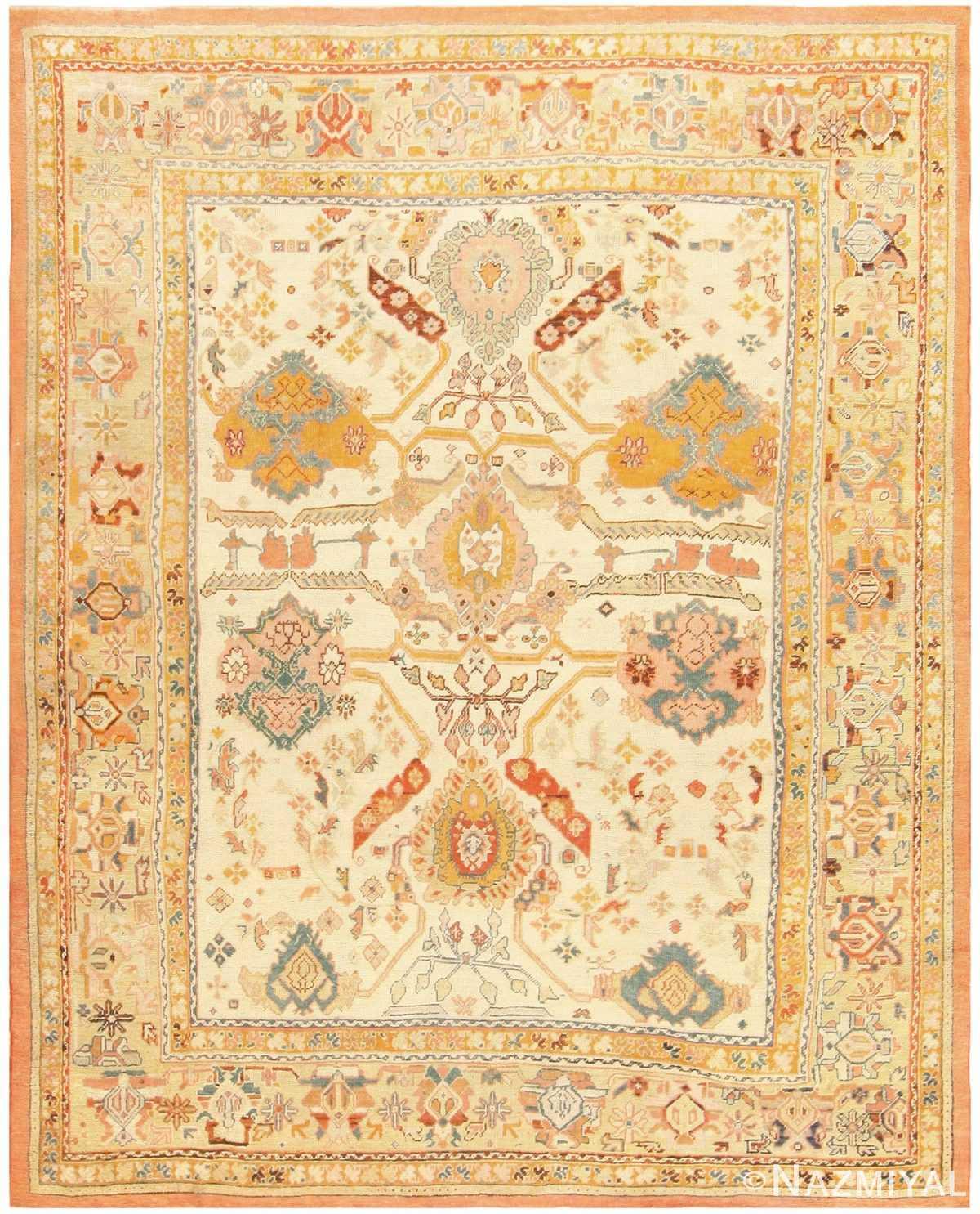 Antique Turkish Oushak Rug 48157 Detail/Large View