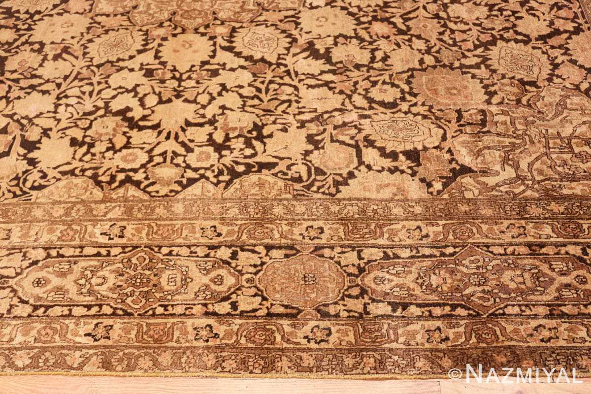 Border Antique brown Ardabil design Persian Tabriz carpet 48273 by Nazmiyal