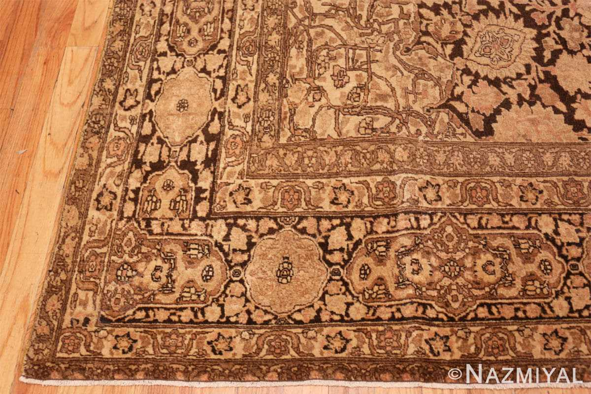 Corner Antique brown Ardabil design Persian Tabriz carpet 48273 by Nazmiyal