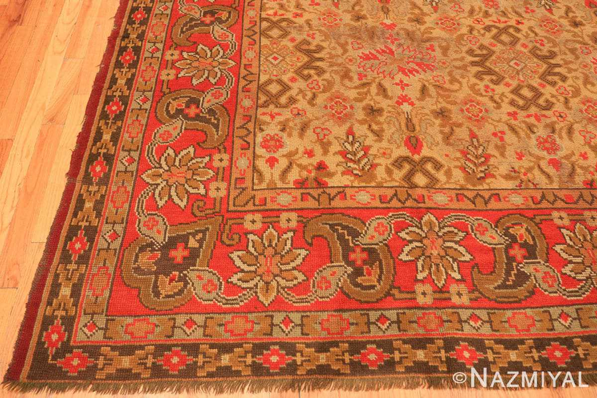 Corner Large Shabby chic Antique Irish Donegal carpet 2688 by Nazmiyal