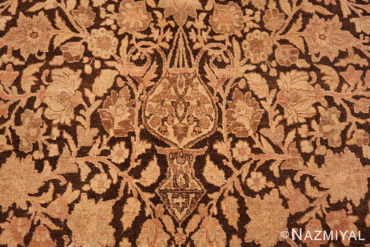 Detail Antique brown Ardabil design Persian Tabriz carpet 48273 by Nazmiyal