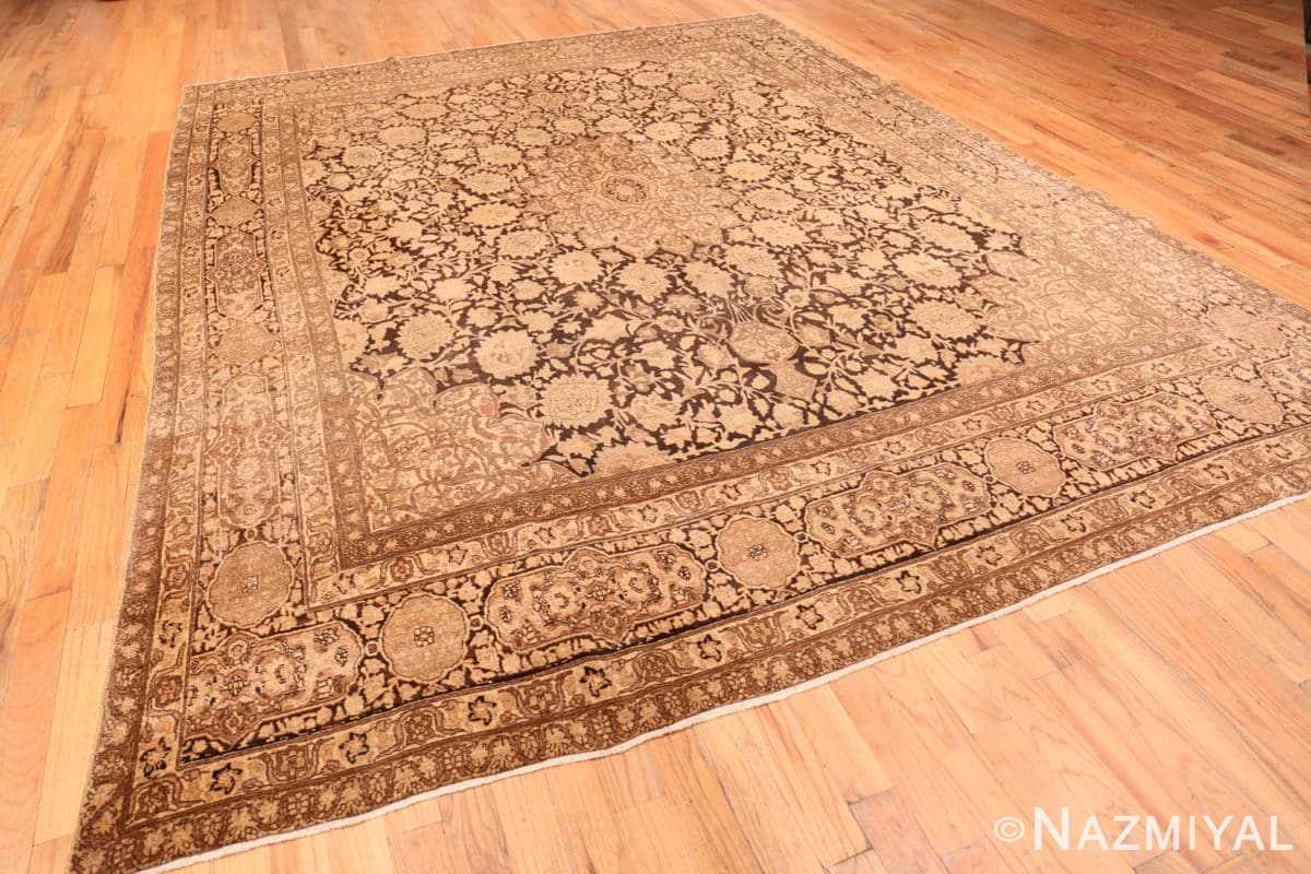 Full Antique brown Ardabil design Persian Tabriz carpet 48273 by Nazmiyal