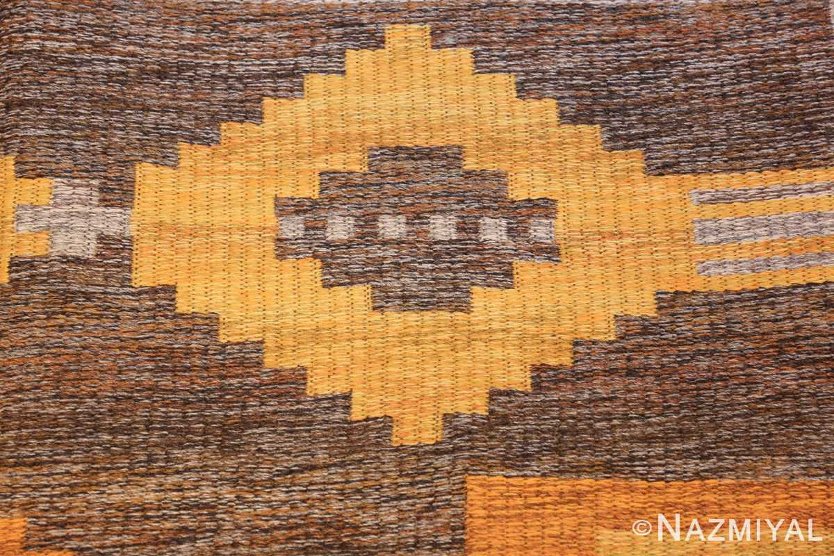 vintage double sided swedish kilim rug 48282 gray closeup Nazmiyal