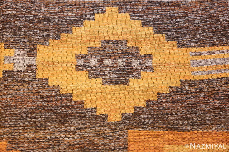 vintage double sided swedish kilim rug 48282 gray closeup Nazmiyal