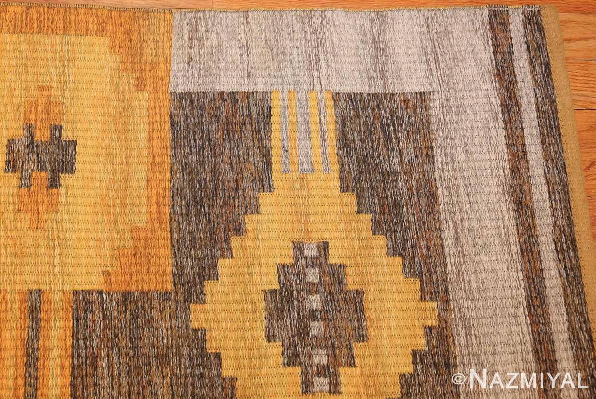 vintage double sided swedish kilim rug 48282 gray corner Nazmiyal