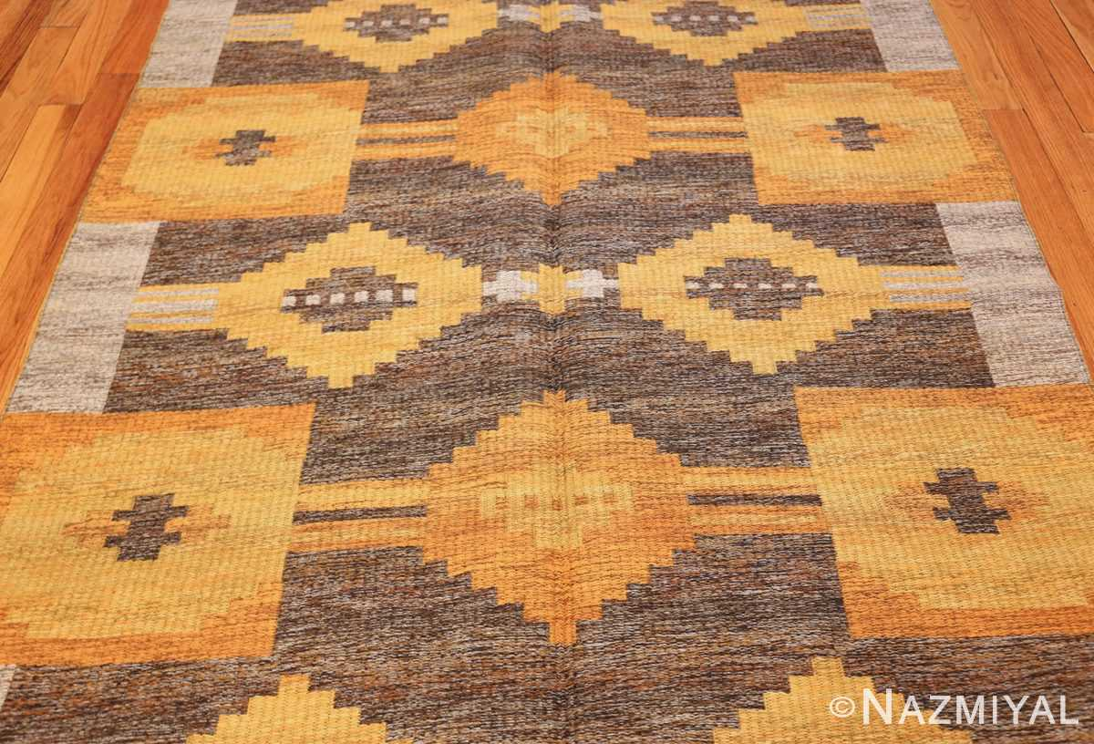 vintage double sided swedish kilim rug 48282 gray field Nazmiyal