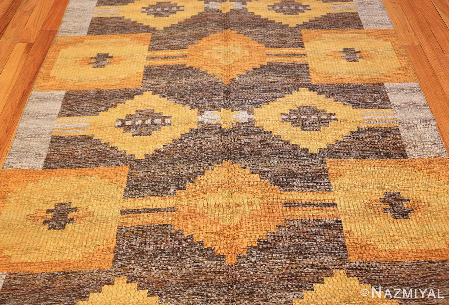 vintage double sided swedish kilim rug 48282 gray field Nazmiyal