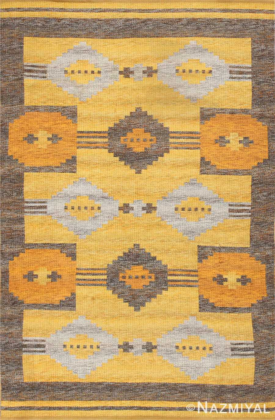 vintage double sided swedish kilim rug 48282 Nazmiyal