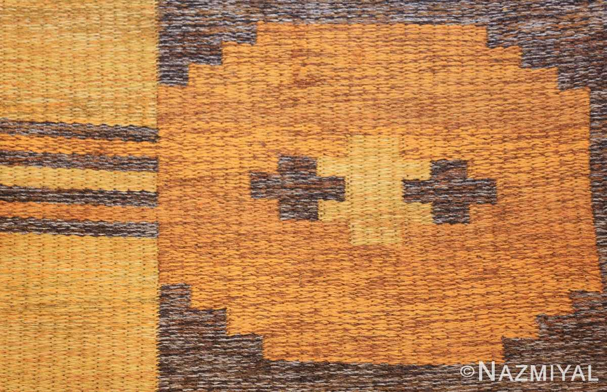 vintage double sided swedish kilim rug 48282 orange Nazmiyal