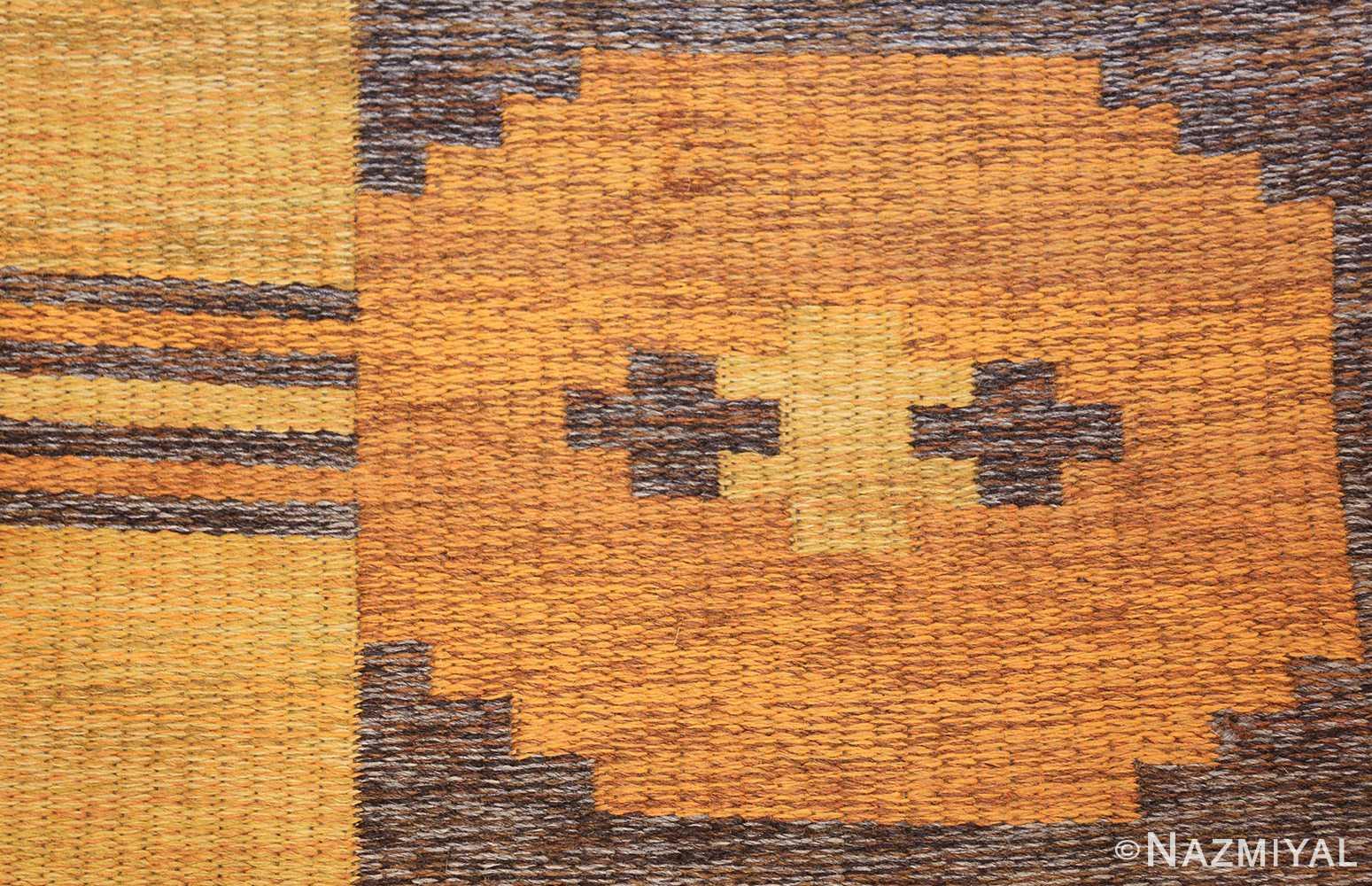 vintage double sided swedish kilim rug 48282 orange Nazmiyal