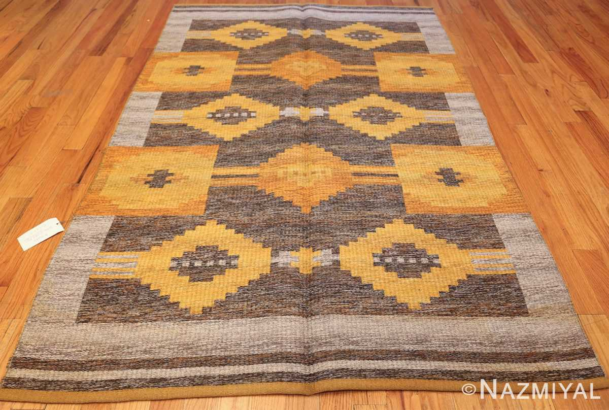 vintage double sided swedish kilim rug 48282 whole gray Nazmiyal
